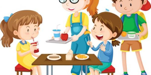 Children having meal at table illustration